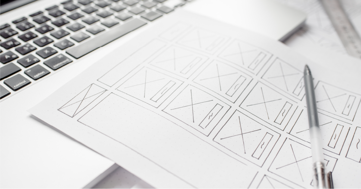 Wireframes showing anatomy of a website-featured