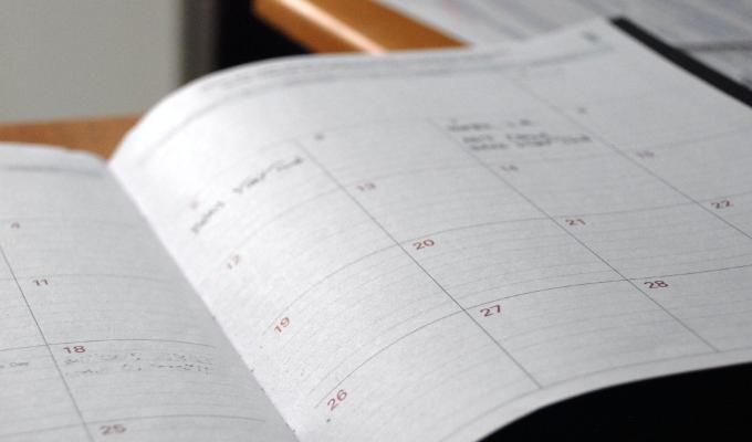Blog editorial calendar on paper.