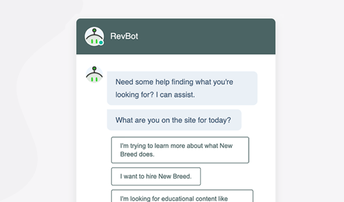 Example of a HubSpot chatbot by New Breed.