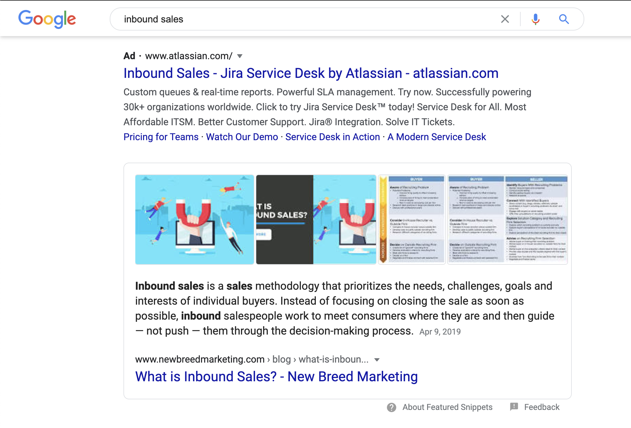 Featured snippet of New Breed for Inbound Sales