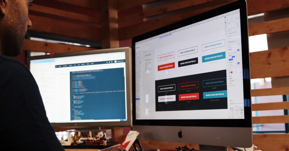 Designer working on a website homepage.