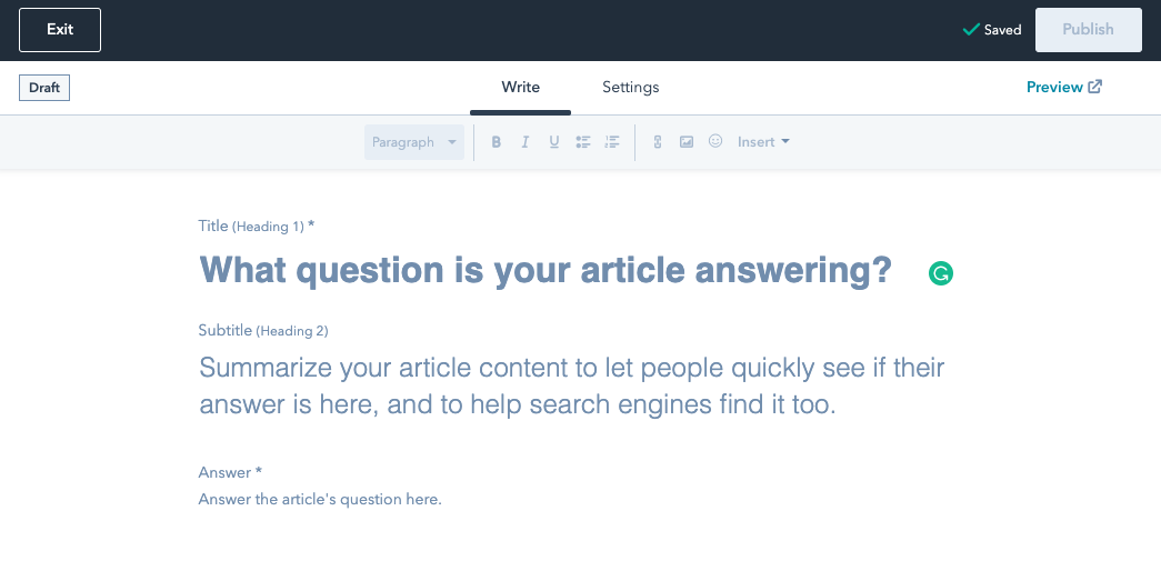 HubSpot knowledge base article