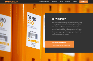 Screenshot of Damotech Website