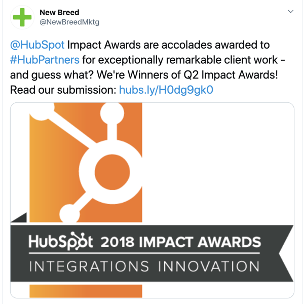 New Breed announces winning of an Impact award.