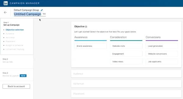 LinkedIn objective selection page