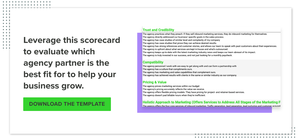 Inbound Marketing Agency Scorecard Download button