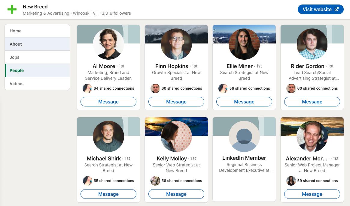 LinkedIn company profile people section.