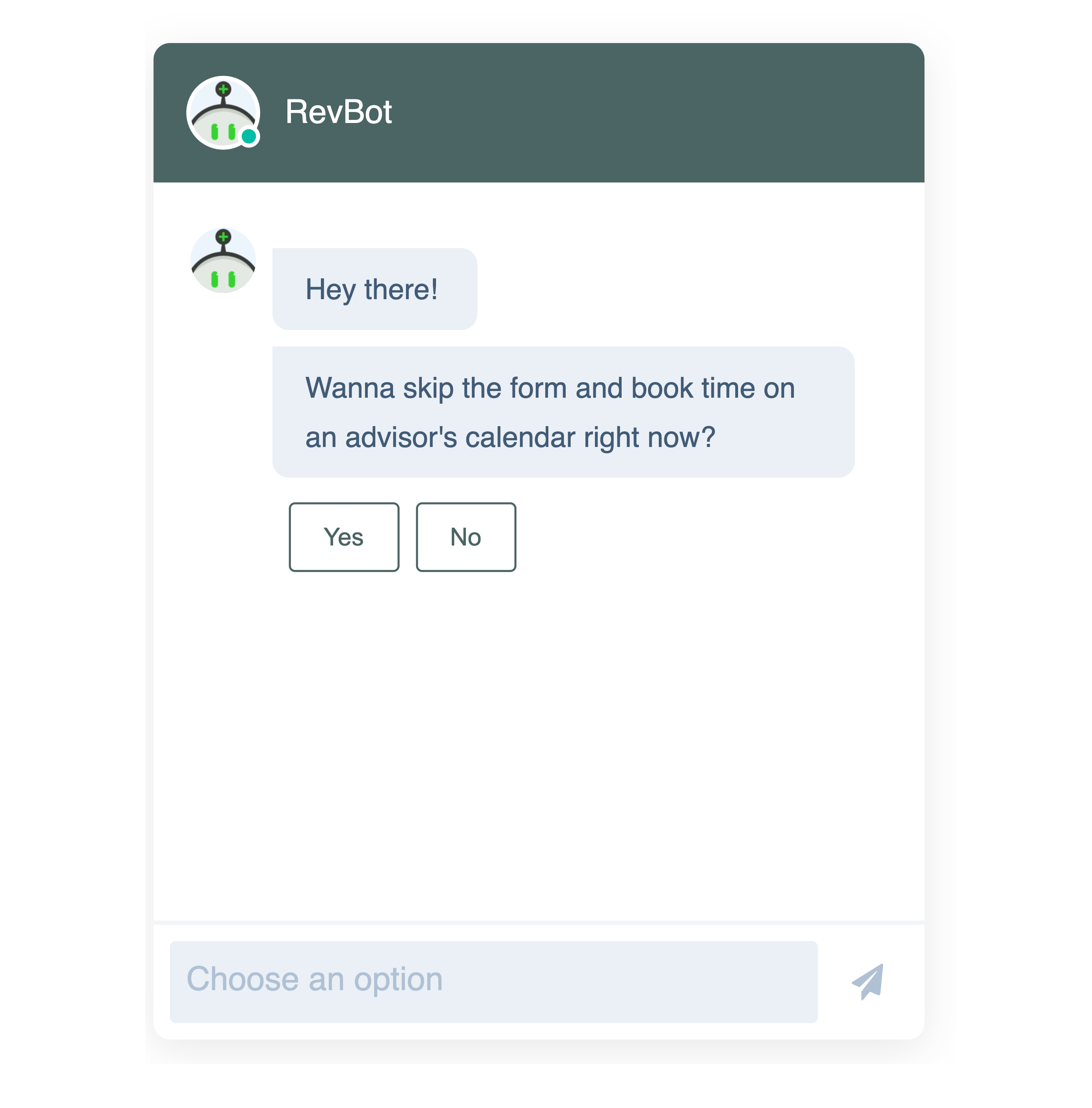 HubSpot Chatbot's option to speak to a person.
